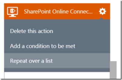 AzureLogicAppSharePointConnectorRepeaterMenu