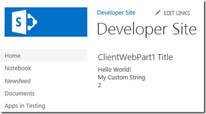 ClientWebPartWithValuesSet