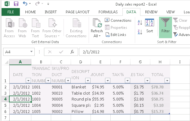 using excel as a database