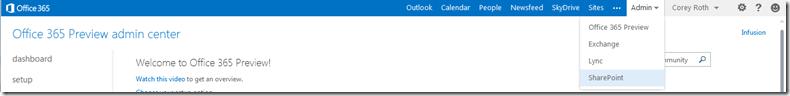 Office365PreviewPortalAdminSharePointLink