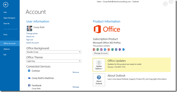 Office365ProPlusOutlookVersion