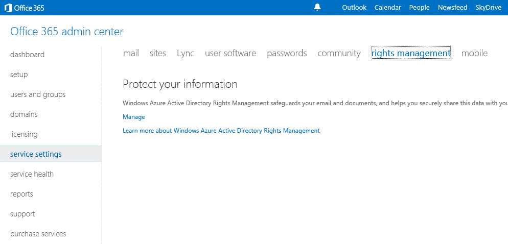 Configuring and using irm with office 365 and sharepoint - Rights management services office 365 ...