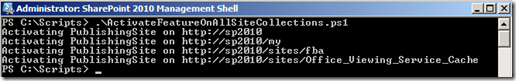 PowerShellSiteCollectionFeatureActivate