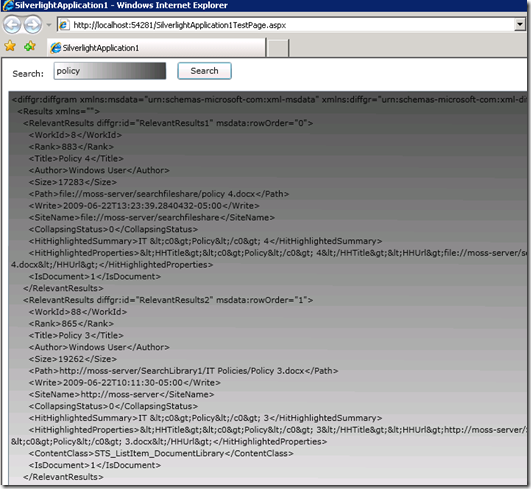 SilverlightSearchScreenshot