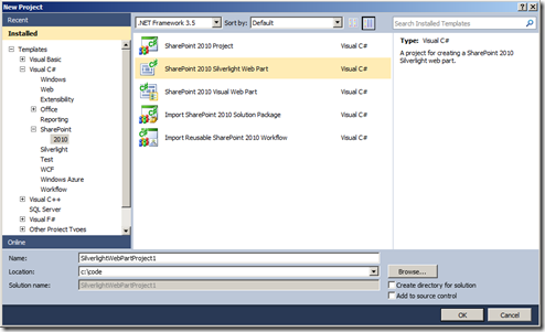 VS11DPNewSharePointSilverlightProject