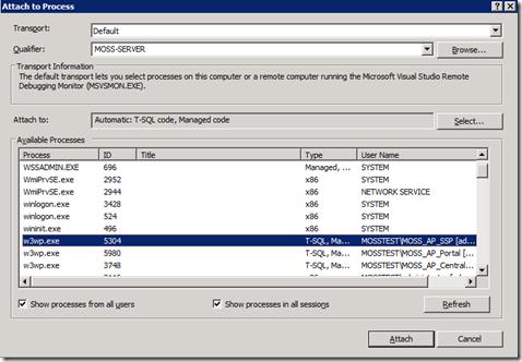 WebPartDebuggingProcessList